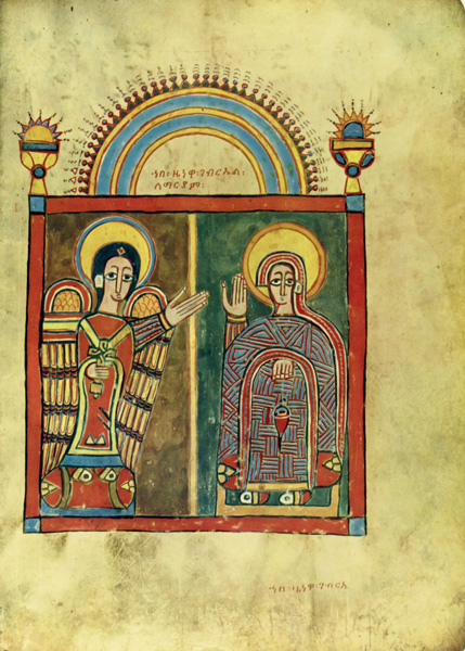 manuscript page with the Annunciation