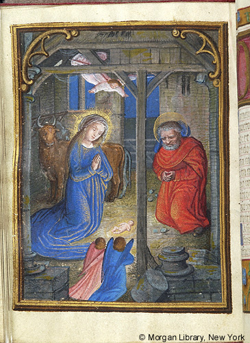manuscript illumination of the Nativity