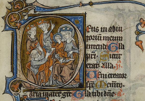 Manuscript initial of the Adoration of the Magi
