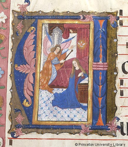 manuscript image of the Archangel Gabriel and Virgin Mary