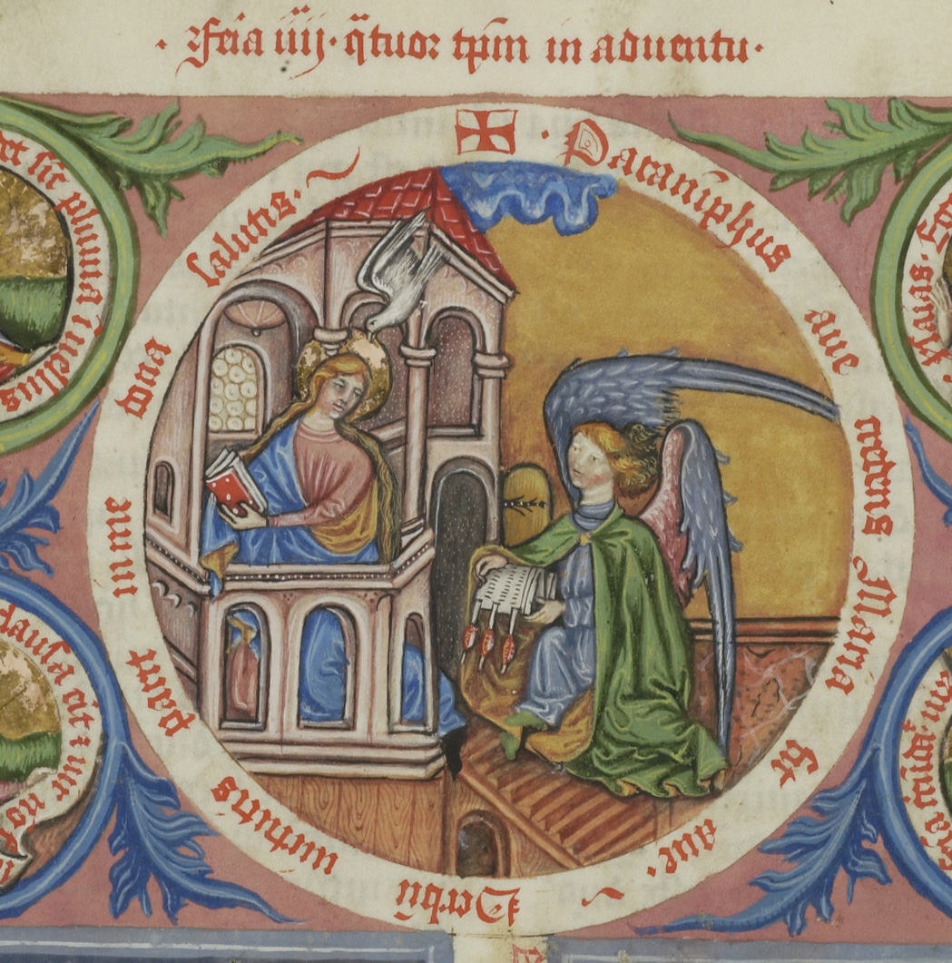 manuscript image of Archangel Gabriel offering document to Virgin Mary