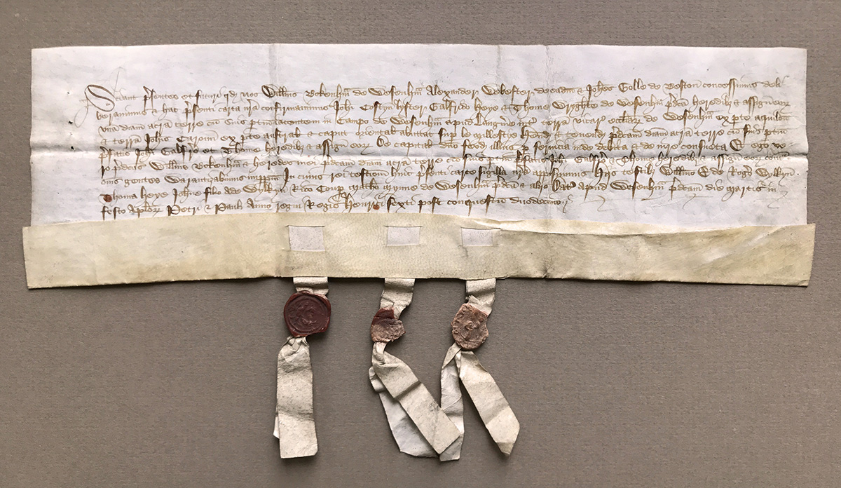 legal document with three seals