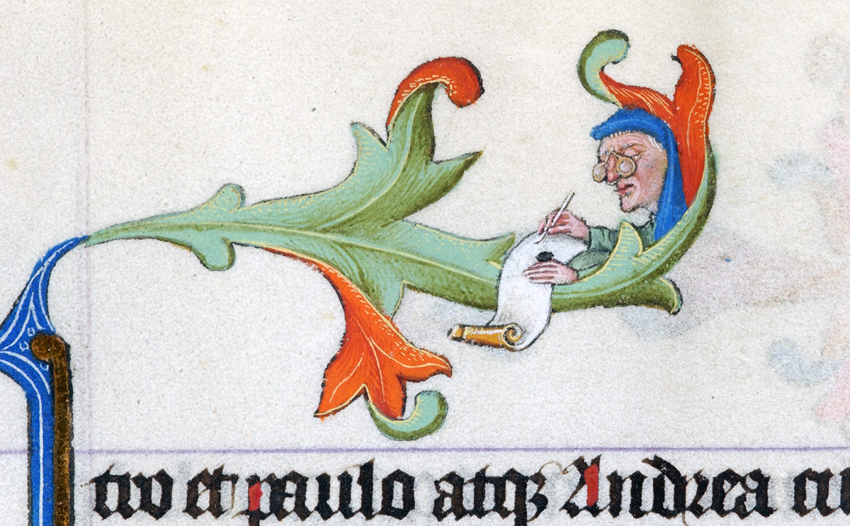 Within curl of foliage, head of man, wearing eyeglasses and writing on scroll, in the upper margin of the Book of Hours of Catherine of Cleves (New York, Morgan Library, M.917 & M.945, fol. 150r). Made in Utrecht, ca. 1440.