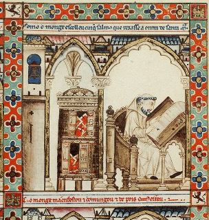 Monk, pen in right hand, writing on scroll on lectern beside cabinet containing books. Cantiga 56.
