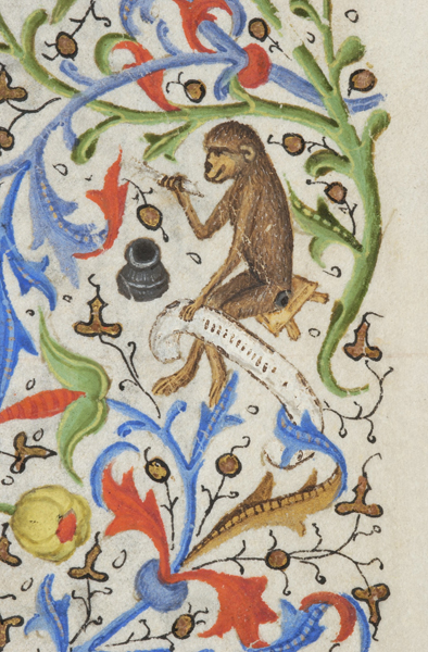 Marginal illustration and drollery of monkey as scribe in French Book of Hours