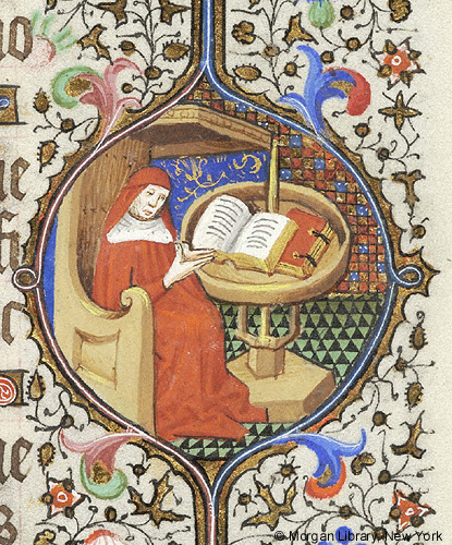 Scholar seated before round desk marginal illustration in French Book of Hours