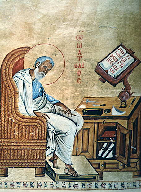 Evangelist Matthew scribal portrait in Gospel Book from Mouth Athos