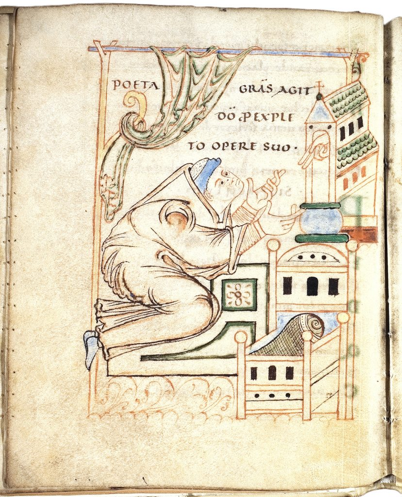 Manuscript image depicting poet offering thanks before a church