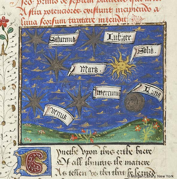Planetary system with five labeled planets and the sun and moon at the beginning of Book 7, part iv, of John Gower, Confessio Amantis, England, ca. 1470 (Morgan Library, MS. M.126, fol. 153v).