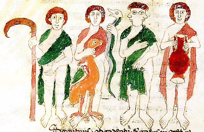 Saturn, Jupiter, Janus, and Neptune in an illustration of Rabanus Maurus, De Universo, Lazio, ca. 1023 (Frosinone, Abbazia di Montecassino, MS. 132, p. 386).