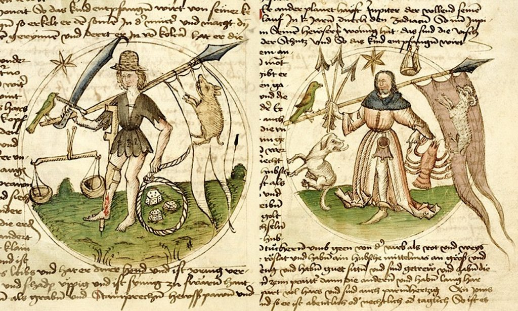 Personifications of the planets Saturn (left) and Jupiter (right) in Von dem Gang des Himmels und Sternen, attributed to Michael Scotus, Rhineland, late 15c. (Morgan Library, MS. M.384, fols. 28v and 29r)